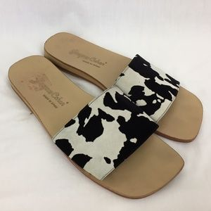 Vtg Jacques Cohen Cow Print Sandals 8